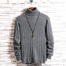 Winter New High Collar Sweater Men Thick Warm Fashion Solid Color Slim Fit Casual Long Sleeve knitting Pullover Man Size M-5XL
