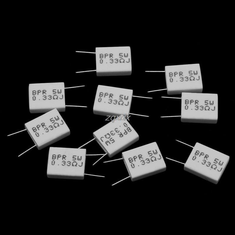 10 Pcs 0.33/0.1/0.22R Ohm 5 W 5% Cement Resistor Non-Inductive Resistor BPR56 Whosale&Dropship