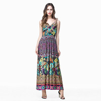Women Vintage Print Double V-neck Sleeveless Ankle Length Plus size Dress Ropa Mujer