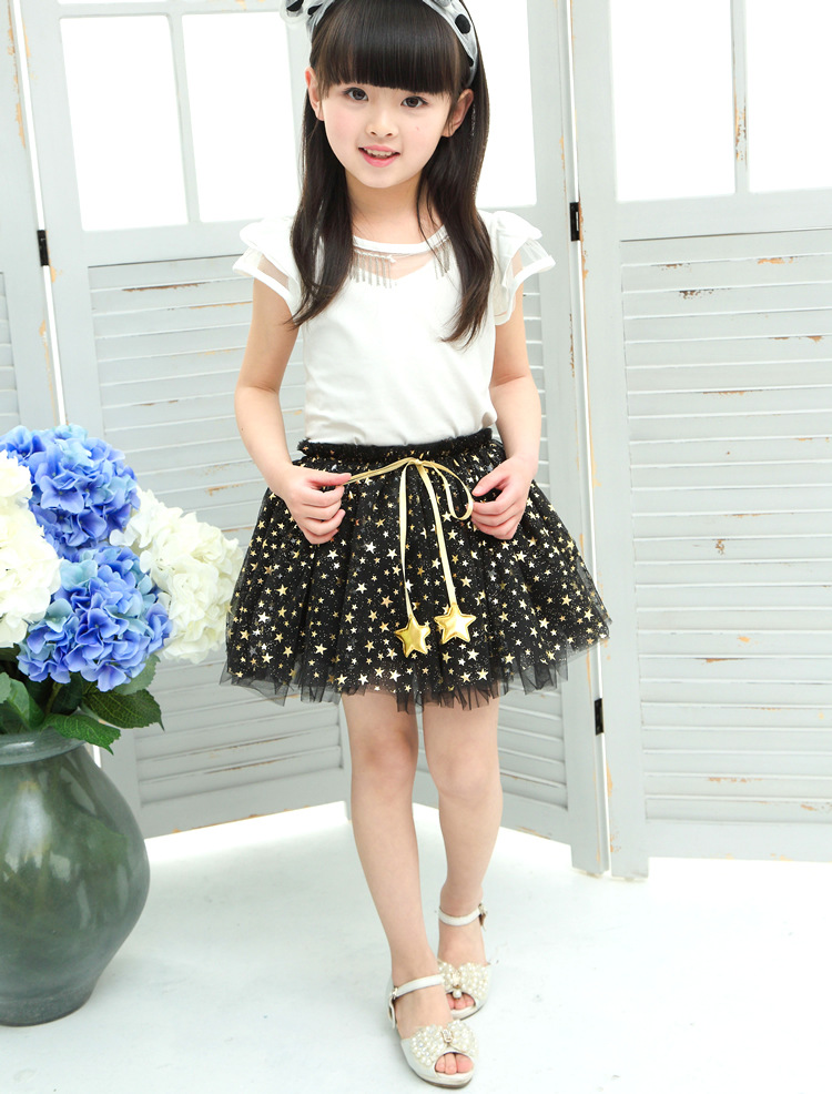 NEW spring autumn Baby Girl Clothes Girls Clothing full stars Sequins mini Skirt Casual school girls ball gown clothes for 4-10T (4)