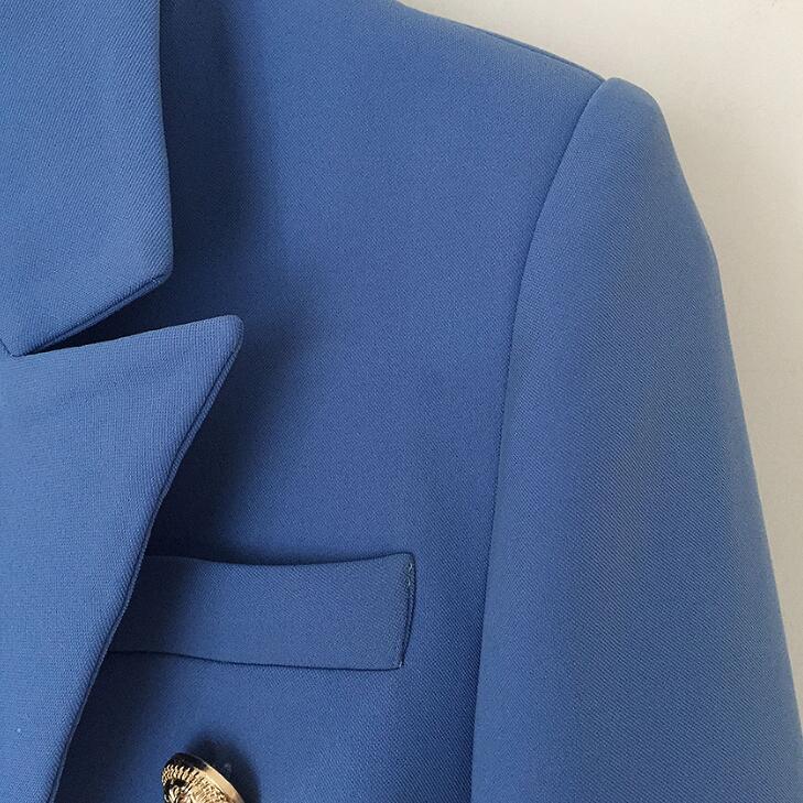 TOP QUALITY New Fashion 2019 Designer Blazer Jacket Women's Double Breasted Metal Lion Buttons Blazer Work Wear