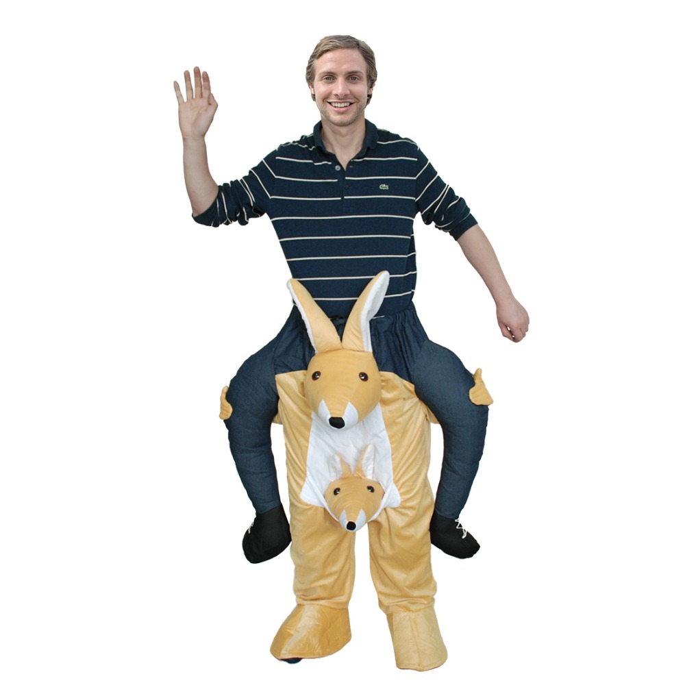 Ride On Kangaroo Costume Popular Lovely Animal Funny Fancy Dress Cosplay Costume Attached False Human Legs For Adult Men