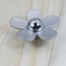 creative fashion flower modern furniture knob shiny silver drawer cabinet knob pull matte silver dresser cupboard door handles