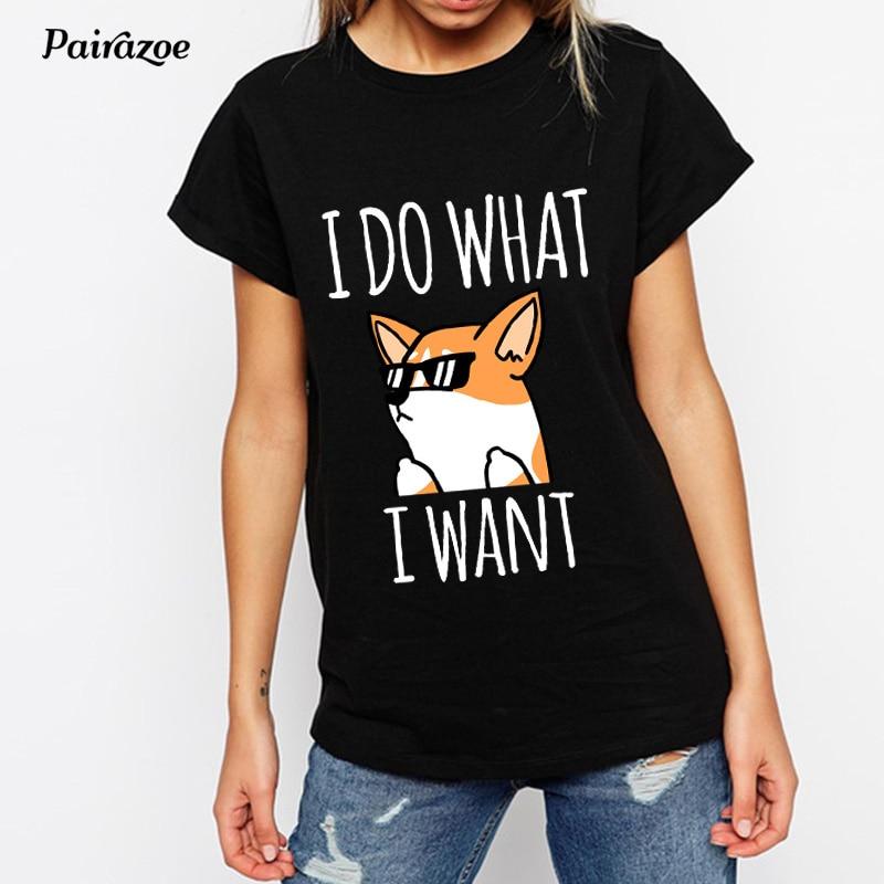 Heb Een Onderzoekende Geest Pairazoe Honden Gedrukt Tshirt Zwart Zomer Vrouwen Top Tees Dames Wit T-shirt Kawaii Grappige Corgi T-shirt Ronde Hals Femme Shirt