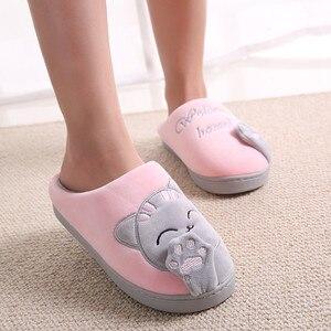Image 2 - 2 pares Inverno Sapatos Mulher Chinelos Em Casa Quente Sapatos Casal De Pele Slides Gatinho Bonito Anti skid Piso Interior Mulas pantufa mujer