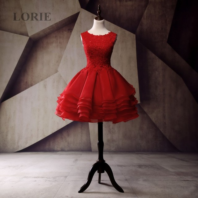 LORIE Beautiful Dresses for Teens Organza Lace Short Red Prom Dress for Graduation Party Cocktail Gown abendkleider 2017 kurz