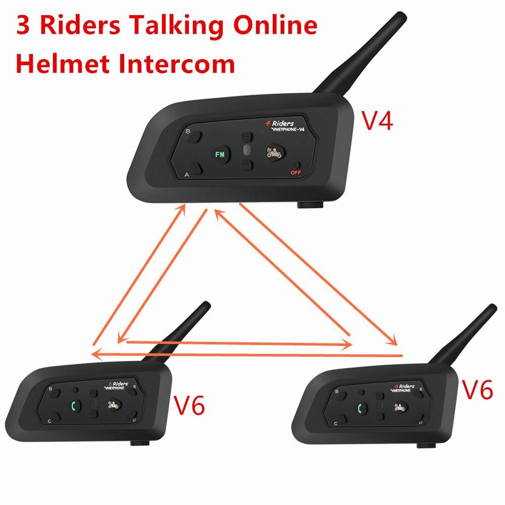 New Motorcycle Helmet Intercom 1200m Wireless Bluetooth Interphone Headsets For 3 Riders Talking Online Ynchronous Intercom