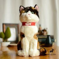 Stuffed Animals Children'S Toy Gift Simulation Cat Plush Toys Three Flowers Tortoiseshell Cat Doll