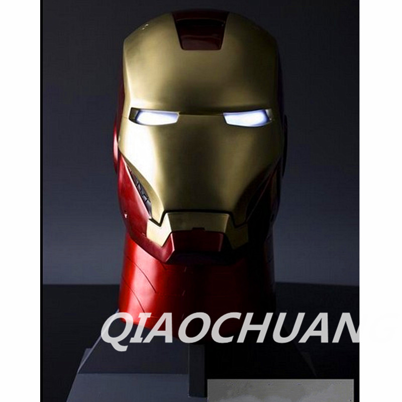 Iron Man Helmet LIFE SIZE 1:1 Wearable Helmet Tony Stark Mark MK6 Cosplay Mask With LED Light Collectible Model Toy Boxed W234 free shipping iron man motorcycle helmet mask tony stark mark 7 cosplay mask with led light