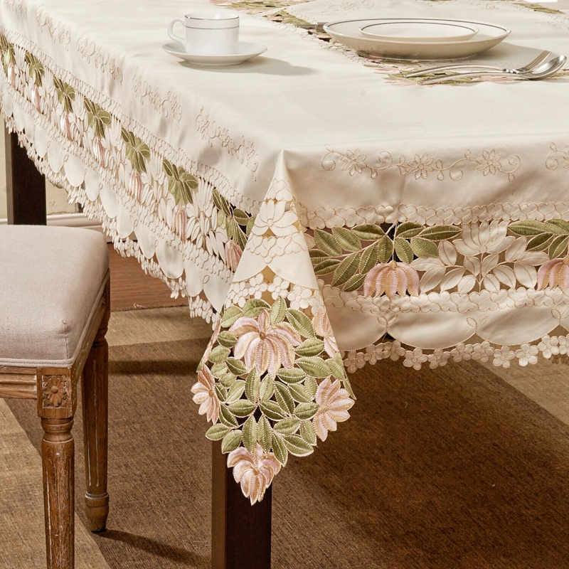 Cutwork Embroidery Tablecloth, Extra Long Tablecloth 175*265cm (69x104)