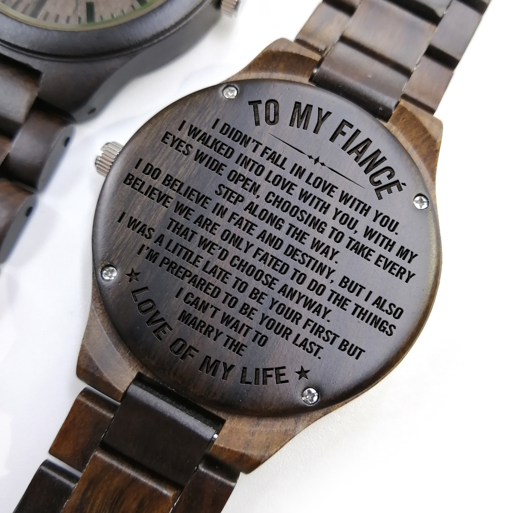 ENGRAVED WOODEN WATCH - to my future husband i choose you again and again 2