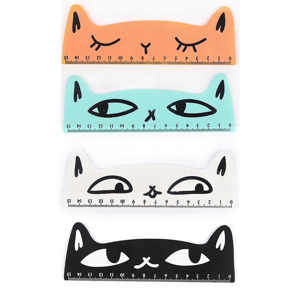 Korean Creative Stationery Cat Shaped Wooden Ruler Cute Cartoon Student Ruler 15cm Length Students Children School Office Gifts