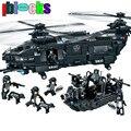 IBLOCKS Gran Transporte Armado Helicóptero Landing Craft Manía Modelos y Juguete Del Edificio Militar Swat Bloques Educativos Para Niños