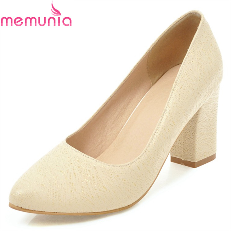 MEMUNIA spring autumn fashion high quality concise women pumps thick high heels pointed toe solid black white prom shoes memunia spring autumn fashion high