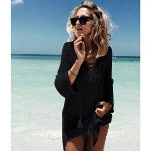 Image 3 - 2018 New Beach Cover Up Bikini Crochet Knitted Tassel Tie Beachwear Summer Swimsuit Cover Up Sexy See through Beach Dress
