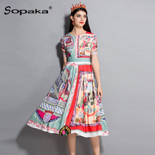 2018 Autumn Women Dress High Quaality Colorful Floral Printed Runway Design Midi Woman Dresses