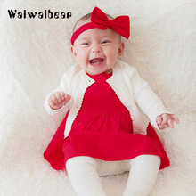 New Baby Girl Dress Knitted Sweater Cardigan Cotton High Quality Infant Cute Sweatshirt Princess Clothing