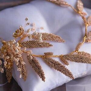 Image 5 - Kore el yapımı iplik gelinler bantlar taklidi yumuşak çiçek gelin Hairbands düğün saç aksesuarları akşam Headdress