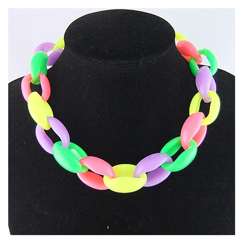CirGen Fashion 5 Rainbow color chunky Plastic chain statement Collar choker necklace Chokers Chain women jewelry item,SS812