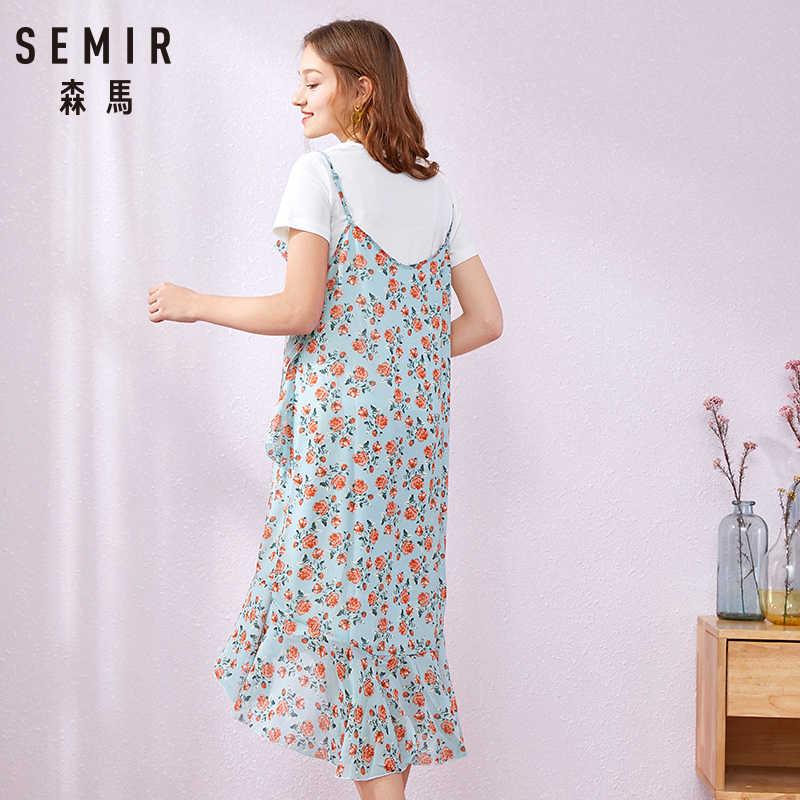 SEMIR 2019 Neue Mode Mädchen Druck Sommer Plus Größe Kleid Casual Oansatz Schwarz Weiß T-shirt Lustige Tasche Frauen Kleid