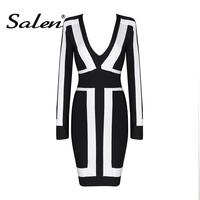 CHIC VITA 2017 New Long Sleeve Black And White Patchwork Bandage Dress Mini Deep V Spring
