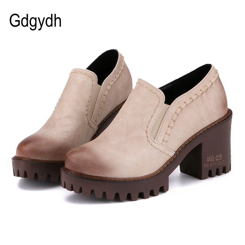 Gdgydh Russian Women Shoes Autumn Round Toe Platform Female Pumps Casual Square High Heels Ladies Single Shoes Plus Size 43