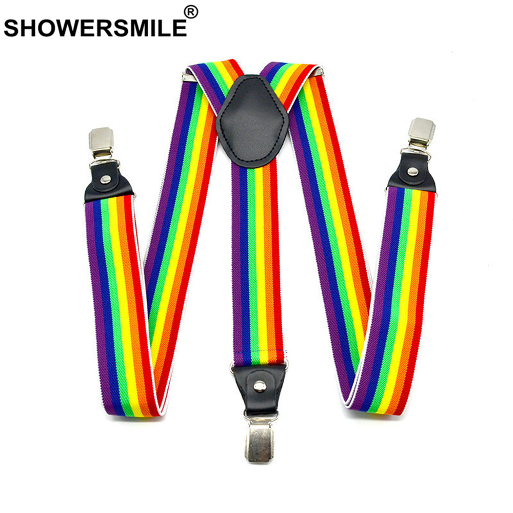 SHOWERSMILE Rainbow Suspenders Stripe Mens Braces Leather Classic High Quality Strap Elastic 3cm Mens Trouser Suspenders Male