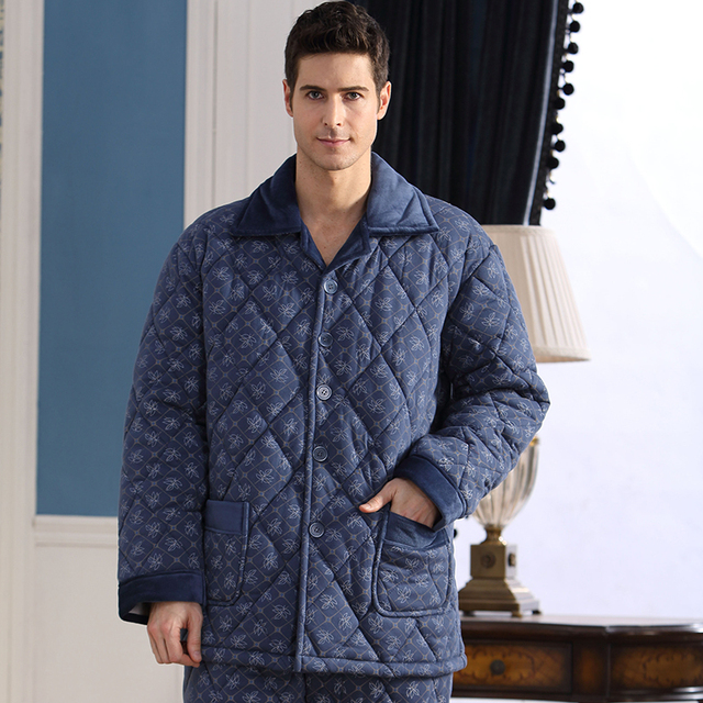 2016 winter casual pajama set for men patchwork lounge wear full sleeve modal v neck pijamas