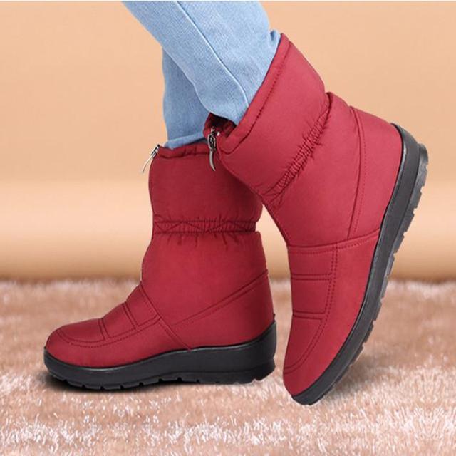 2016 cargadores de la nieve de las mujeres botas mediano de la pierna plana antideslizante térmica de maternidad de invierno de algodón acolchado