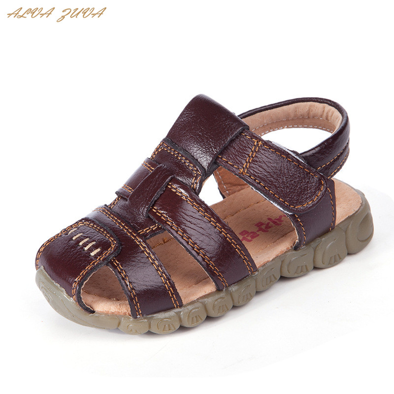 ALVA ZUVA Baby Boys Summer Sandals Genuine Leather Kids Casual Comfortable Beach Sandals Shoes Clj004
