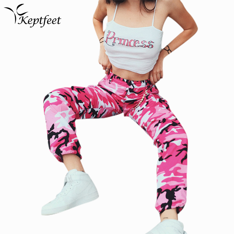 Women Running Pants Autumn Pink Jogger Pants Military Camouflage Pants Slim Fit Female Cotton Trousers Streetwear