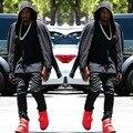 Shirt Men Style Zipper Leather Gold Long Extended Swag T-Shirt Black /White/ Fashion Kanye West Hip Hop Slim T Shirt Tops Tees