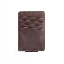 Men money clips vintage leather front pocket clamp for money holder magnet magic money clip wallet with card ID Case