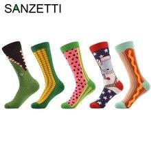 Sanzetti 5 пара/лот Мужская чесаный хлопковые носки забавный узор Кукуруза Space Man хот-дог арбуз новинка Повседневные Носки Экипажа Носки