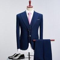 2018 свадебный костюм для Для мужчин Smart Черный Royal Blue Slim Fit платье в деловом стиле костюмы мужской смокинг пальто брюки плюс Размеры S XXXXL 1005