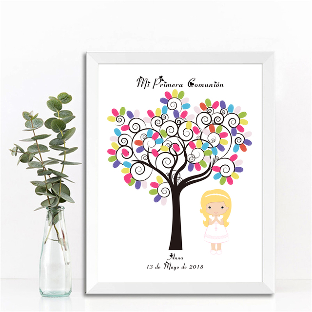 US $6 16 33% OFF Free Custom Name Date My First Holy Communion DIY  Fingerprint Guest Sign Book,Girls Boys Baby Shower Baptism Birthday Gift  -in