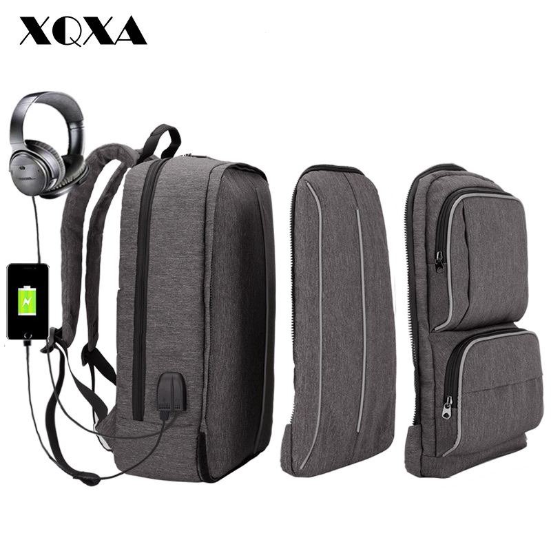 XQXA Backpack Men 17 Inch Laptop Backpack School Bag for Teenagers USB with Headphone Charge Travel Mochila Large Capacity Gray vicuna polo men leather usb cable travel laptop backpack with headphone hole school backpack has front pocket bagpack mochila