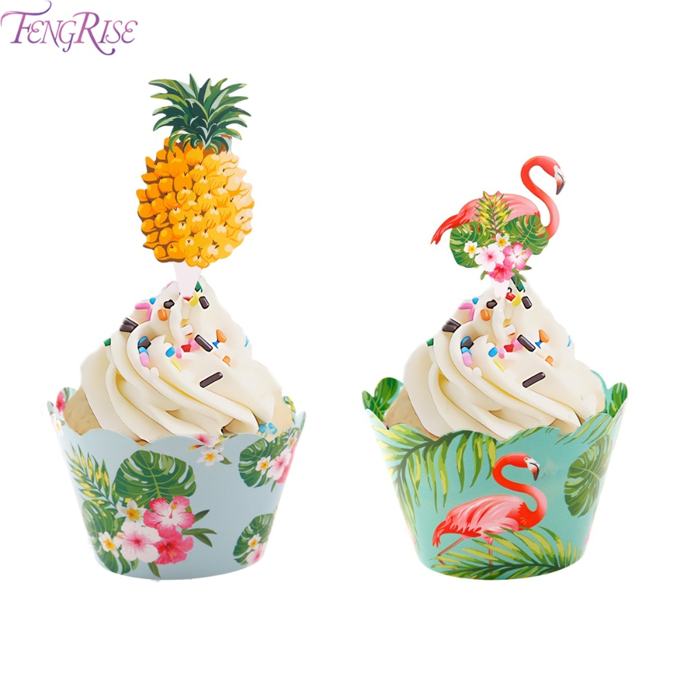 FENGRISE 12pcs Flamingo Cake Topper Pineapple Cupcake Toppers Wrappers Hawaiian Party Wedding BIrthday Decorations