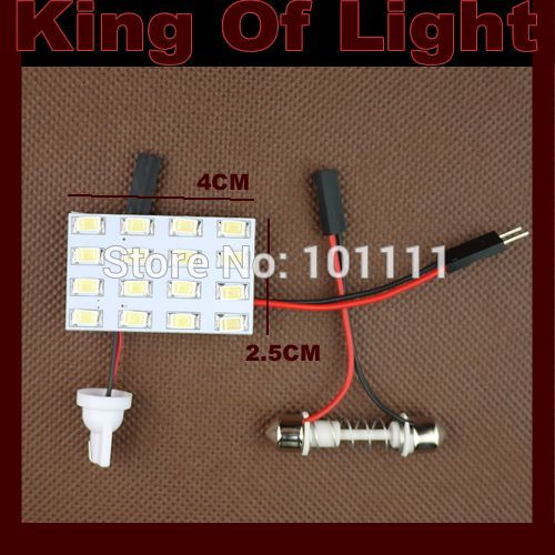 1X 16 LED SMD 5630 16smd Car Interior Light T10 Festoon Dome Adapter led Car Vehicle LED Panel Auto car light source Free ship 2pcs 12v 31mm 36mm 39mm 41mm canbus led auto festoon light error free interior doom lamp car styling for volvo bmw audi benz