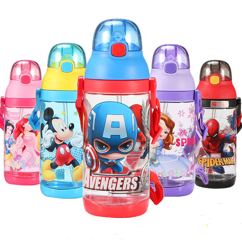 520ML <font><b>Baby</b></font> Feeding Straw Cup Durable Mickey Minnie Leak-<font><b>poof</b></font> Drinking Bottle Portable Suction Cup For Kids image