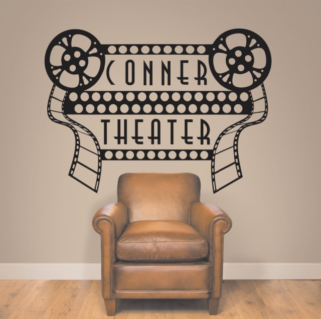 Home Theater Sign Wall Decals Home Theater Decor Removable Movie Theater  Decoration Personalized Theater Art Wall