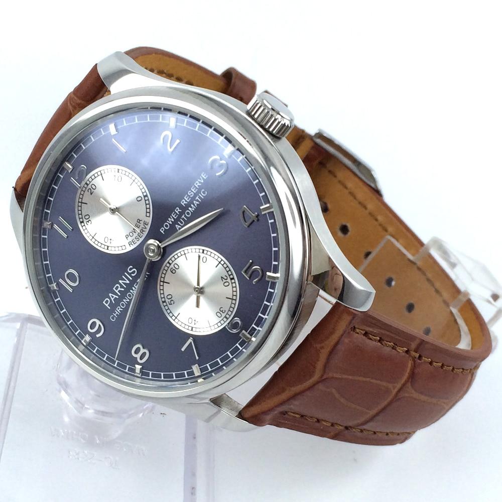 лучшая цена 43mm parnis blue dial Luxury power reserve automatic movement mens watch