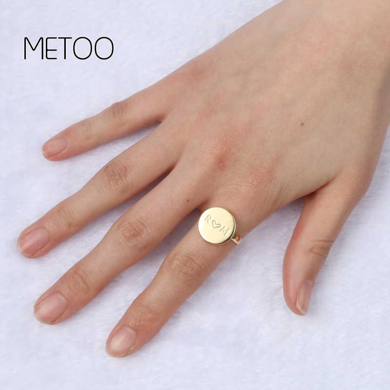 """METOO 2019 Золотые круглые кольца для женщин пользовательское имя буквы геометрические круглый палец женское кольцо не изменить цвет Anel ювелирные изделия в стиле """"Бохо"""""""