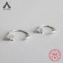 100% S925 Sterling Silver Ear Stud Earrings For Women Cubic Zircon Charm Earrings Women Jewelry Gift