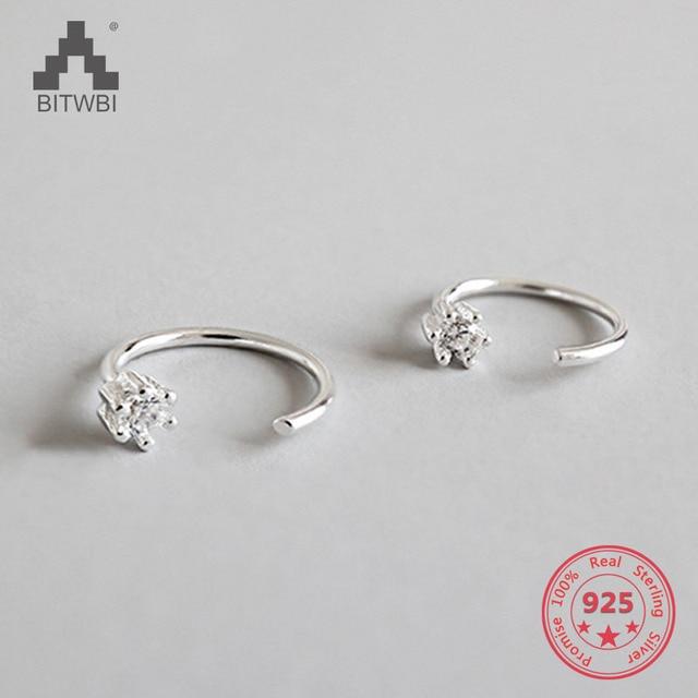 100% S925 Sterling Silver Ear Stud Earrings For Women Cubic Zircon Charm Earring
