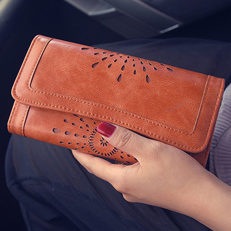Vintage Leather Wallet New Fashion Women Wallet Hollow Out 3 Fold Billeteras Mujer Long Purse Clutch Coin Purse Cart Holder