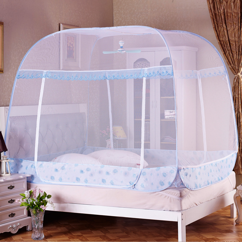 Quick open pop up Mosquito net Bed Canopy Ger Type 4 Corner Bug Insect Mosquito Net Fly Netting Mesh Bed Canapy Bed Netting-in Mosquito Net from Home ... & Quick open pop up Mosquito net Bed Canopy Ger Type 4 Corner Bug ...