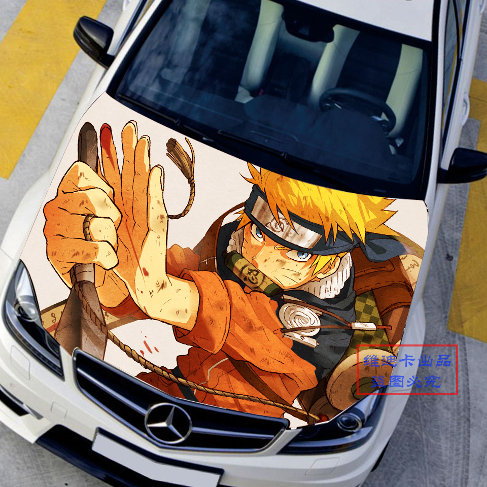 Car styling japanese car stickers decals 3d naruto anime uzumaki naruto hood decal auto roof gabriel reyes camouflage vinyl