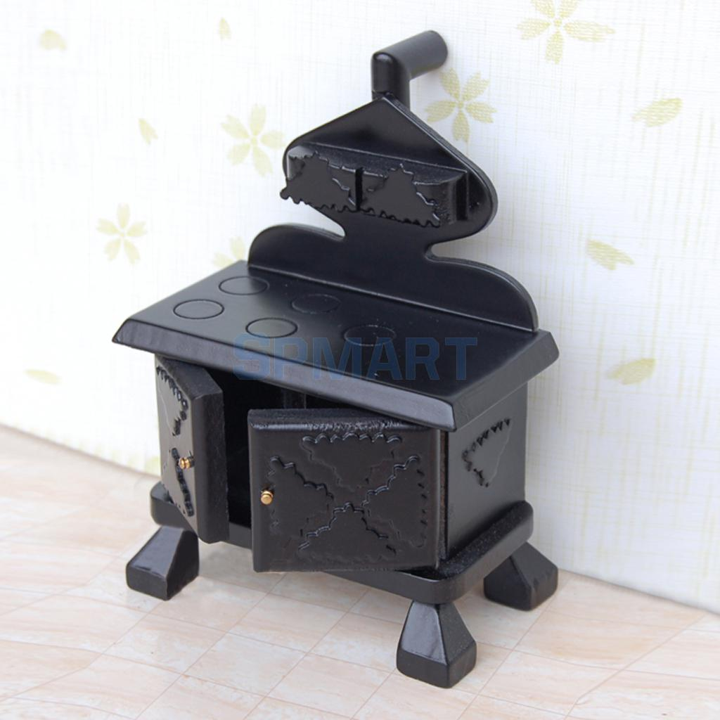 US $13.41 29% OFF|New 2015 Vintage Wood Miniature Kitchen Stove Cooker  Black for Dollhouse Furniture Accessory-in Furniture Toys from Toys &  Hobbies ...