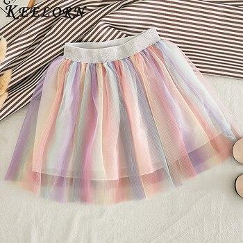 Keelorn chica faldas 2020 nuevo verano cintura Arco Iris falda Color de costura falda pastel ropa 3-7Y ropa de los niños